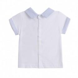 Conjunto camiseta cuello camisero y pantalon corto rayas