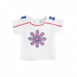 Camiseta m/c flor con 2 lacitos en los hombros