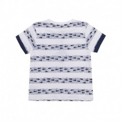 Camiseta estampada peces con bolsillo contraste marino