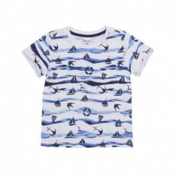 Camiseta estampada olas del mar barquitos y anclas