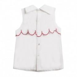 Blusa fiesta sin mangas, con lazo rojo en cuello y pecho con ondas rojas - Newness - JGV99741