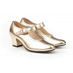 Angelitos® zapato niña flamenca metalizado, fabricado en España