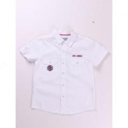 Camisa manga corta popelin detalles bordados 100% algodón
