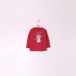 Camiseta Manga Larga Bebe Niña Color Frambuesa