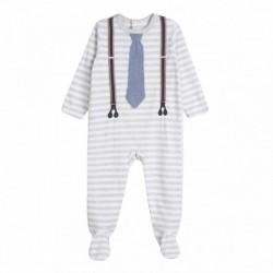 Pijama terciopelo rayas corbata