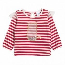 Camiseta rayas rojas gato de gasa con lentejueras coloridas