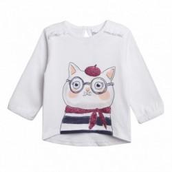 Camiseta blanca gatita gorda con gafas