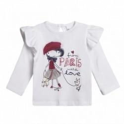 Camiseta niña con falda de tejido cuadros grises