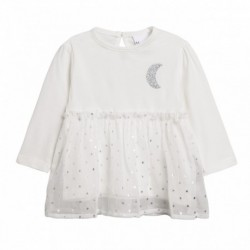 Camiseta volante de gasa de estrellas plateadas