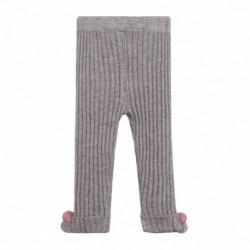 Pantalon lana canale puntos con 2 pompomes marino y maquillaje