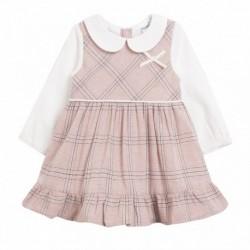 Vestido cuello bebe m/larga cuadros rosas