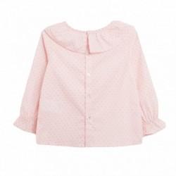 Blusa cuello redondo rosa lunares