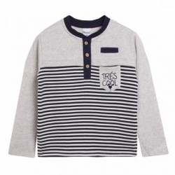 Camiseta rayas bolsillo gris