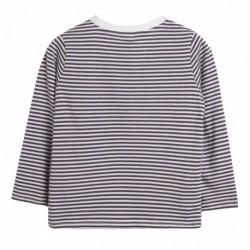 camiseta rayas bolsillo gris oscuro