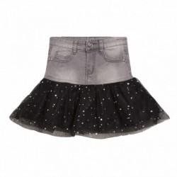 Falda vaquera con tul negro estrellas plateadas