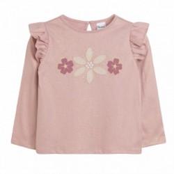 Camiseta rosa dorada flores
