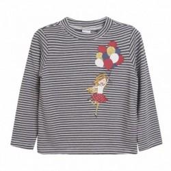 Camiseta rayas marinas chica con globos coloridos