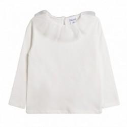 Camiseta básica cuello volante de gasa