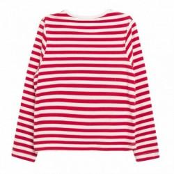 Camiseta rayas rojas detalles de tul marino