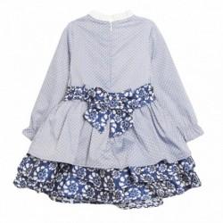 Vestido de fiesta azul flores con lazos marinos