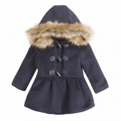 Abrigo paño con capucha y botones cuero