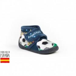 Calzado descanso detalle dibujo fútbol con cierre velcro, made in spain - ANGELITOS - ANGI-136