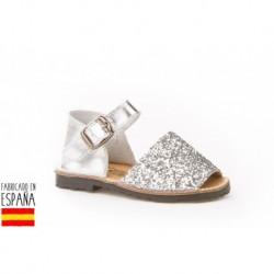 Sandalia piel glitter tipo ibicenca fabricada en españa-ALM-199