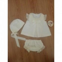 Conjunto vestido braguita y capota pique-ALM-7032
