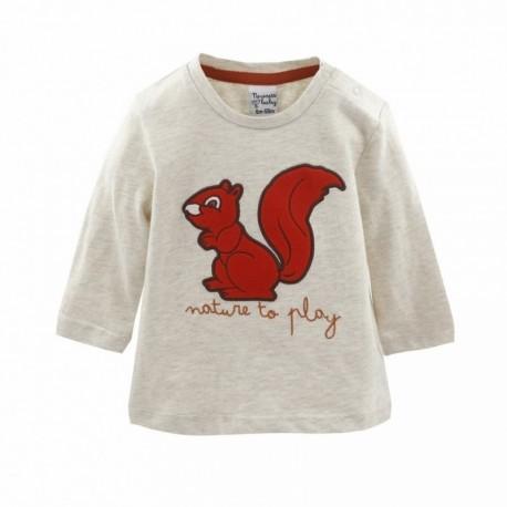 Comprar ropa de niño online Camiseta algodón ardilla manga