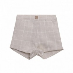 Pantalon corto beige cuadros grandes-ALM-BBV98068