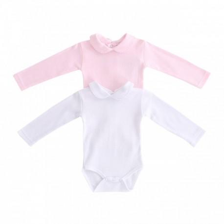 Comprar ropa de niño online Bodys cuello bebe lisos pack de 2
