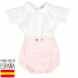 Conjunto camisa m/c cuello bebe topitos - Babidú - BDV-40407-1