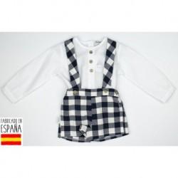Conjunto camisa m/l + pant tirantes cuadros - Babidú - BDV-44404-1