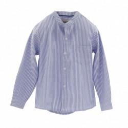 Camisa cuello mao manga larga popelin