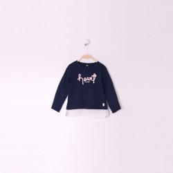 Camiseta manga larga tejido combinado queen-ALM-29512-1