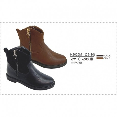 Botines tipo cowboy, cremallera lateral-DKI-H2022M-Double King