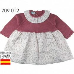 Vestido manga larga tejido combinado cuello redondo - Pecesa - PCI-709-012