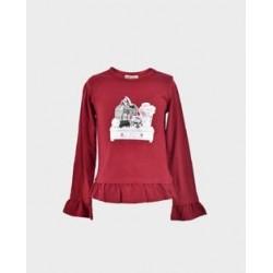 Camiseta niña burdeos tocador-LOI-1011074804-La Ormiga