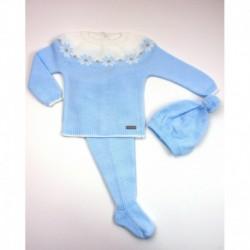 PBI-2004-Celeste fabricantes de ropa de bebe Conjunto 3 piezas