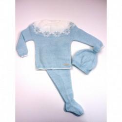 PBI-2004-Celeste/Mezcla fabricantes de ropa de bebe Conjunto 3