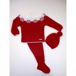 PBI-2004-Rojo fabricantes de ropa de bebe Conjunto 3 piezas