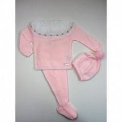 PBI-2004-Rosa fabricantes de ropa de bebe Conjunto 3 piezas