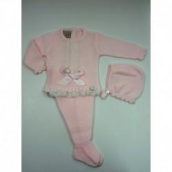 PBI-2016-Rosa fabricantes de ropa de bebe Conjunto 3 piezas