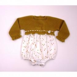 Pelele manga larga tejido combinado tela/punto-Primbaby-PBI-2031-Ocre