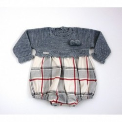 Pelele manga larga tejido combinado tela/punto-Primbaby-PBI-2033-Gris