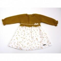Vestido punto tela coronas-Primbaby-PBI-2040-Ocre