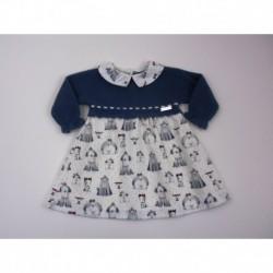 PBI-2042-Azul fabricantes de ropa de bebe Vestido manga larga