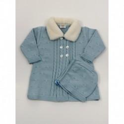 Abrigo tachon trenzas cuello pelo-Primbaby-PBI-6141-Cielo