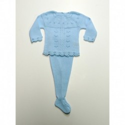 Conjunto polaina chaqueta y blusa de plumeti-Primbaby-PBV-5112-Celeste