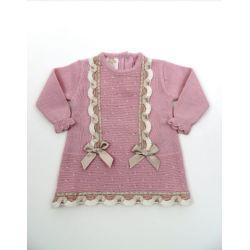 Vestido manga larga tachón links puntilla-Primbaby-PBI-6133-Rosa